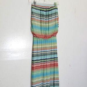 Cynthia Rowley XS rainbow tube top maxi dress